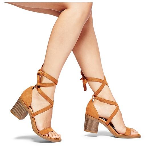 Women's Matilda Lace Up Heeled Quarter Strap Sandals - Merona ...