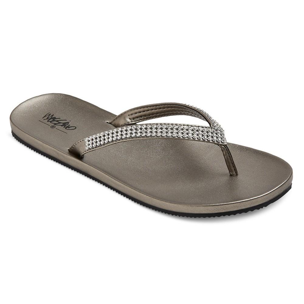 Womens Lula Rhinestone Detail Flip Flop Sandals Mossimo - Silver 8