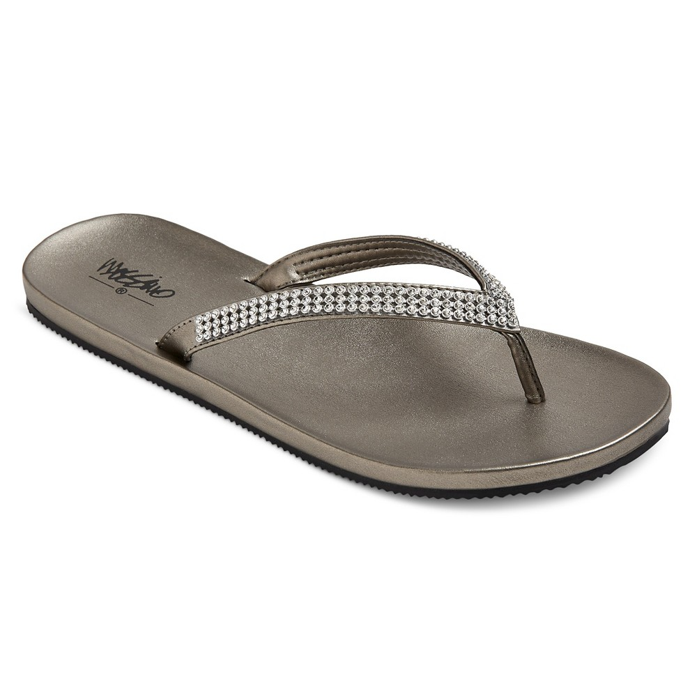 Womens Lula Rhinestone Detail Flip Flop Sandals Mossimo - Silver 7