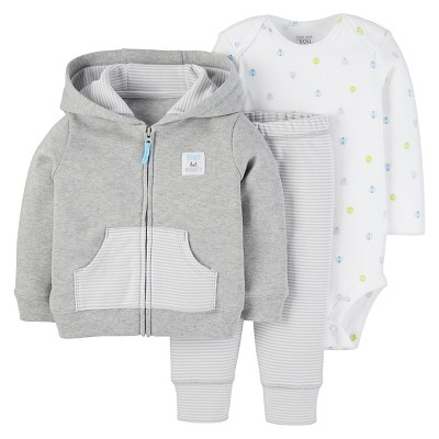 Just One You™ Made by Carter's® Baby Boys' 3pc Cardigan Set - Heather Gray NB