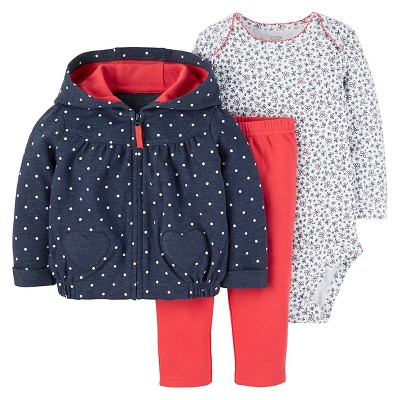 Just One You™ Made by Carter's® Baby Girls' 3pc Cardigan Set - Dots Navy/Red 3M