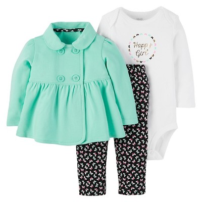 Just One You™ Made by Carter's® Baby Girls' 3pc Cardigan Set Happy Girl - Mint 9M