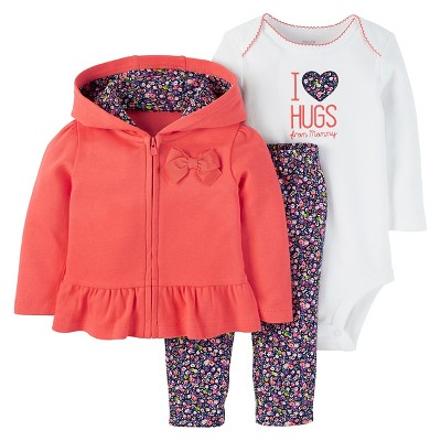 Just One You™ Made by Carter's® Baby Girls' 3pc Cardigan Set Hugs From Mommy - Coral 6M