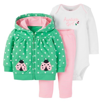 Just One You™ Made by Carter's® Baby Girls' 3pc Cardigan Set Aunties Girl - Green/Pink NB