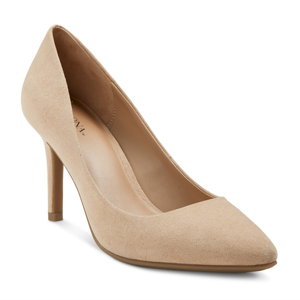 Womens Alexis Pointed Toe Pumps with 3.75 Heels - Merona Nude 12