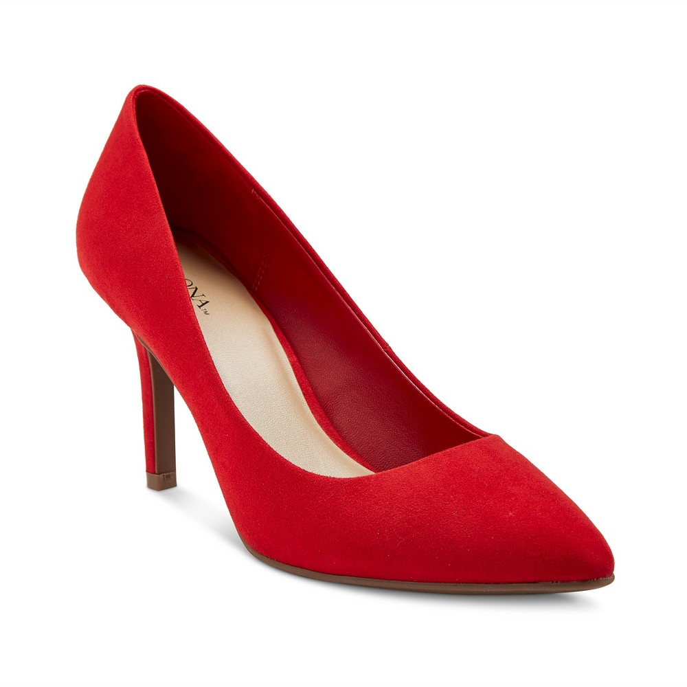 Womens Alexis Pointed Toe Pumps with 3.75 Heels - Merona Red 12
