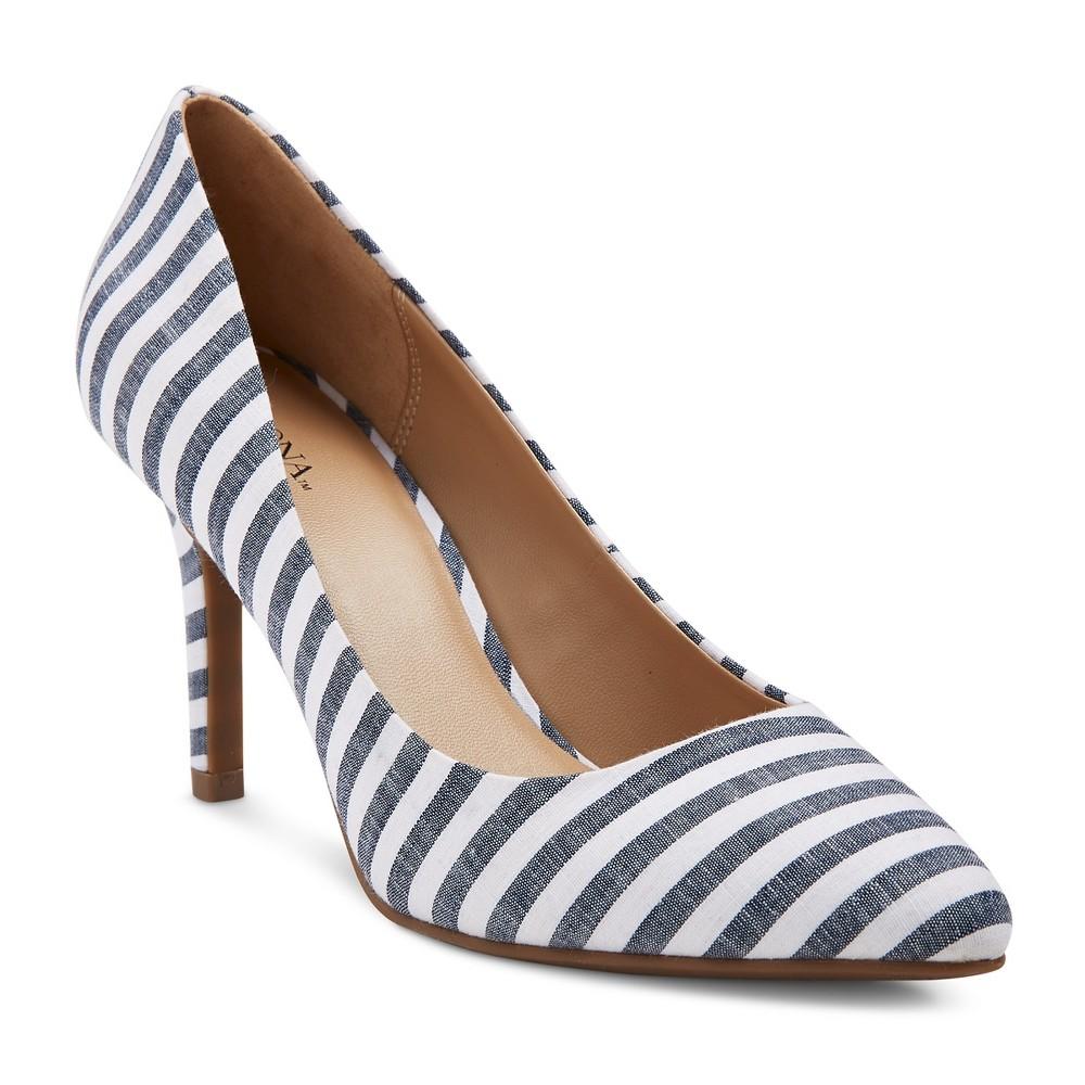 Womens Alexis Pointed Toe Pumps with 3.75 Heels - Merona Denim 5, Denim Blue