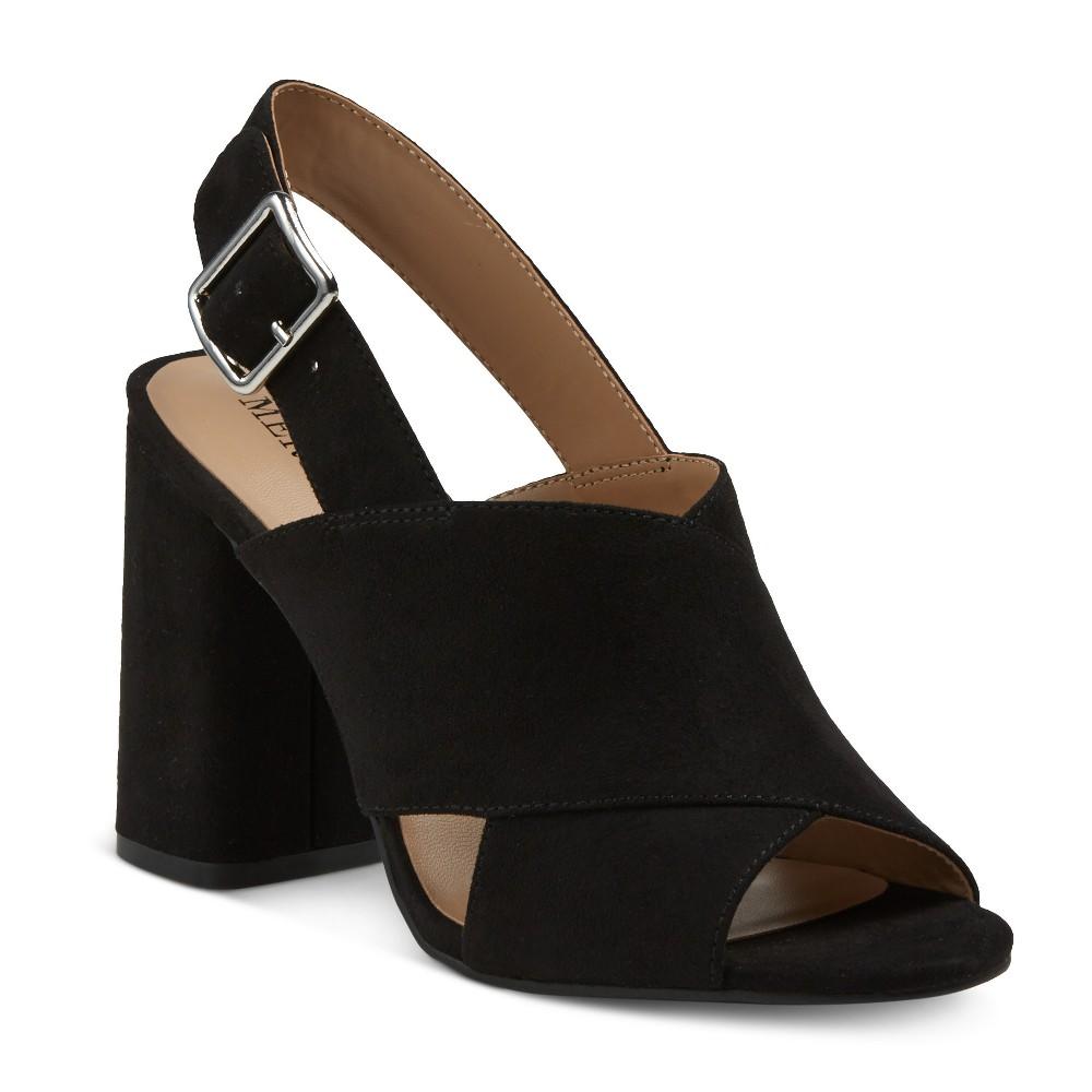 Womens Roselyn Block Heel Slingback Mule Pumps - Merona Black 6