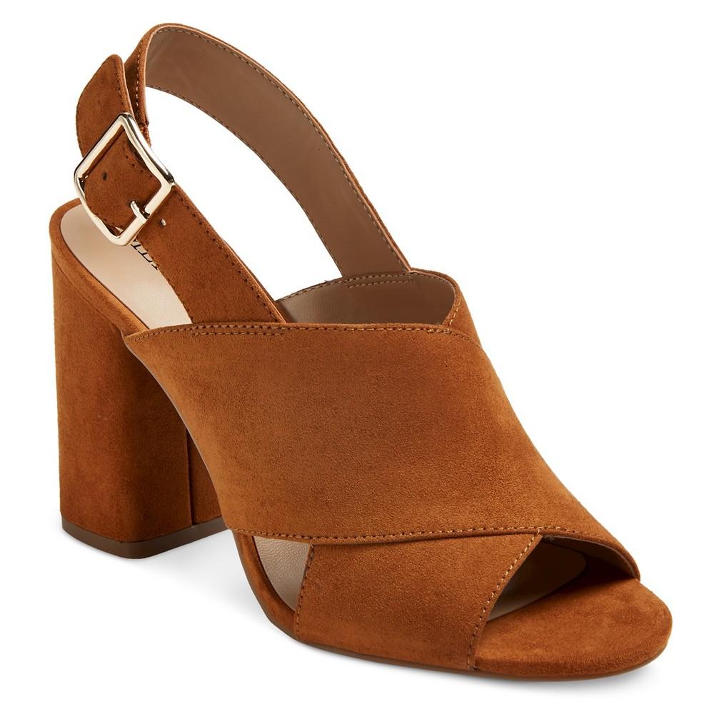 Womens Roselyn Block Heel Slingback Mule Pumps - Merona Cognac (Red) 7