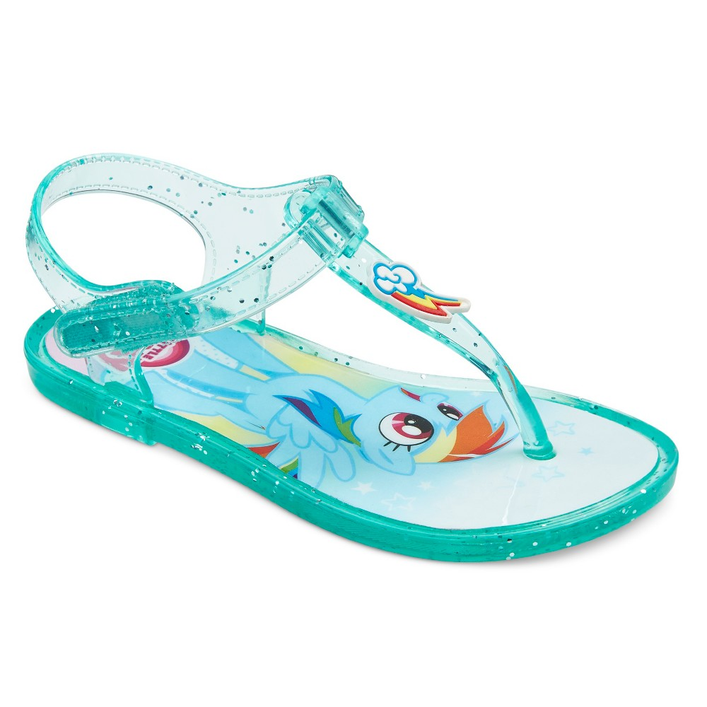 My Little Pony Toddler Girls Rainbow Dash Jelly Sandals - Turquoise S, Blue