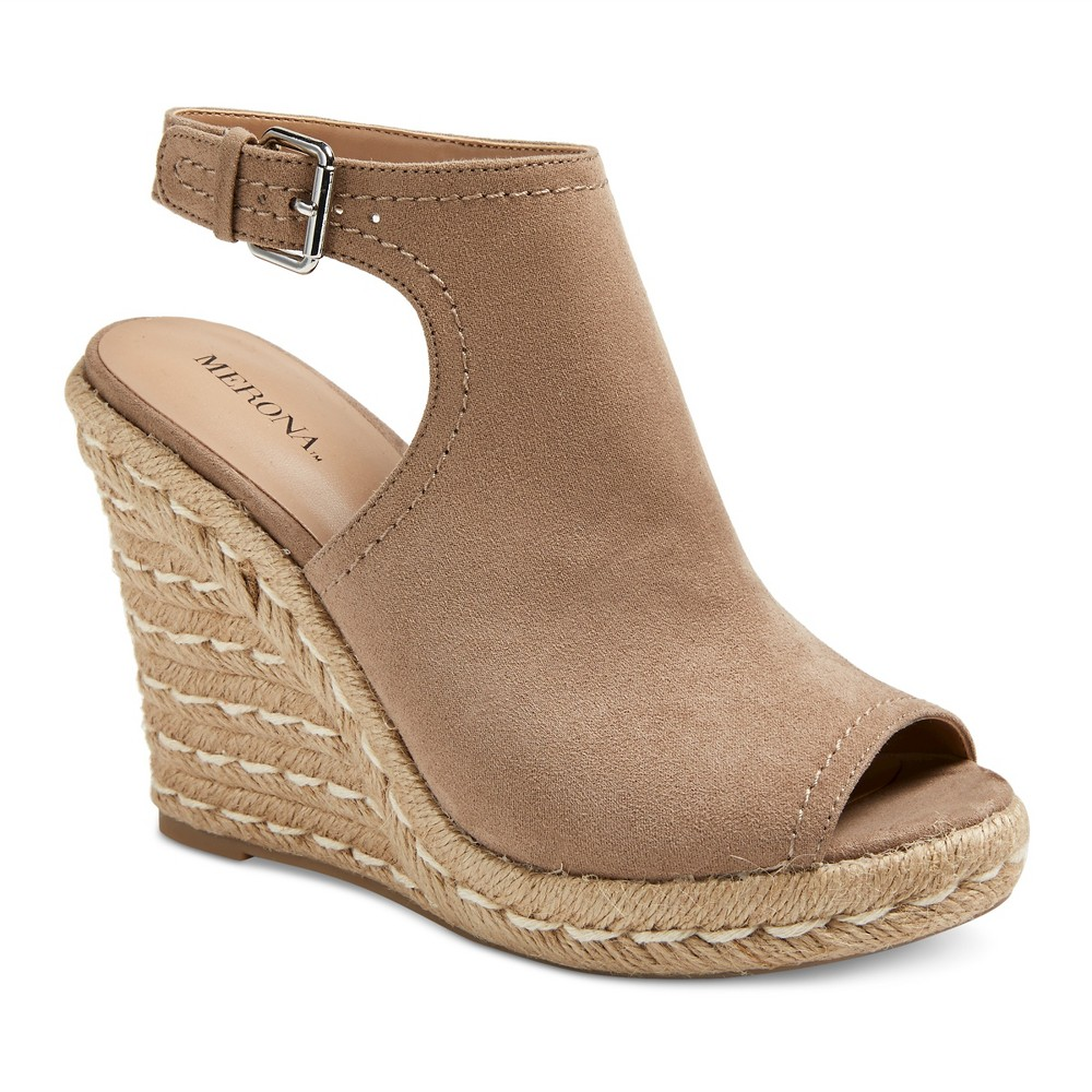 Womens Mala Shield Espadrille Wedge Sandals - Merona Taupe 5.5, Gray