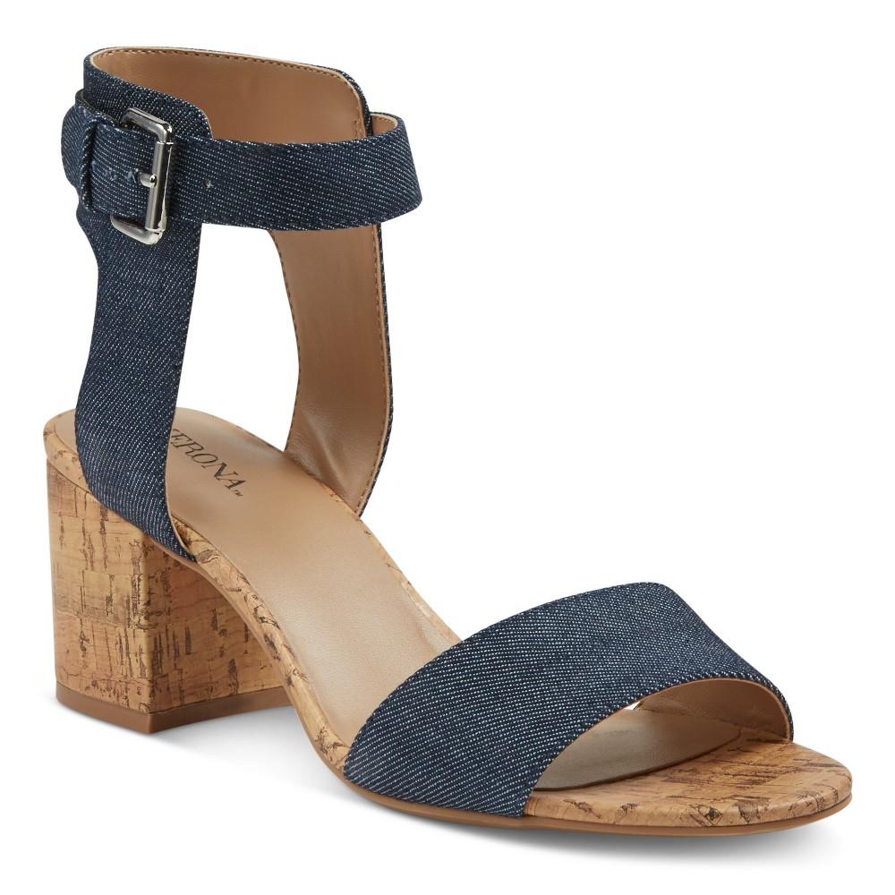 Womens Talia Quarter Strap Cork Heel Sandals - Merona Denim 5.5, Dk Denim