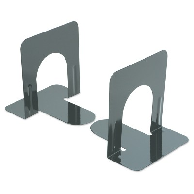 Universal® Economy Bookends, Nonskid, 4 3/4 x 5 1/4 x 5, Heavy Gauge Steel, Black