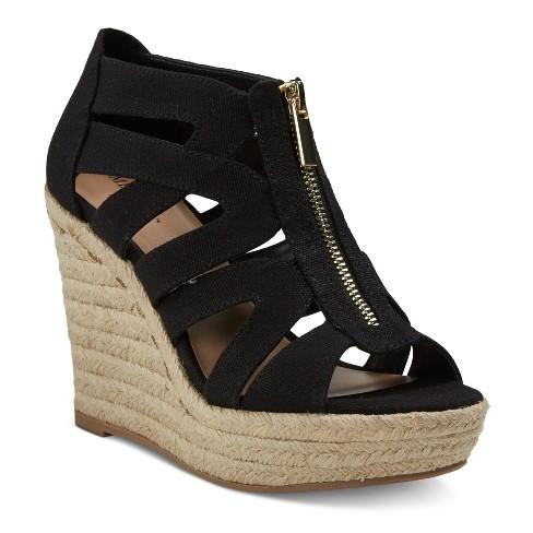 04386658481 Women s Ruth Canvas Zipper Wedge Espadrille Sandals - Merona™ Black 5.5    Target