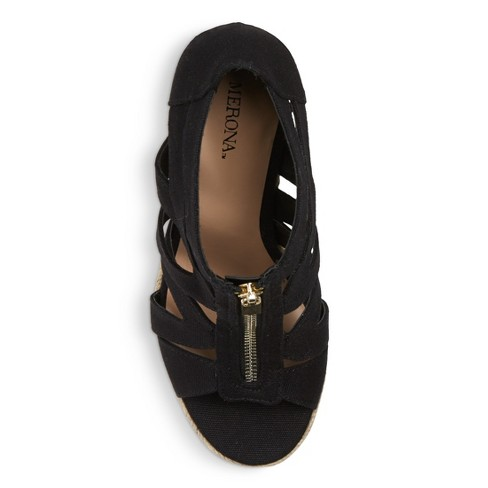 3f85213b120 Women s Ruth Canvas Zipper Wedge Espadrille Sandals - Merona™ Black ...