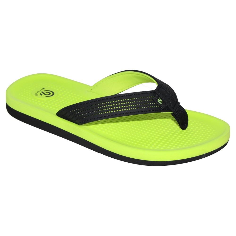Boys Felipe Flip Flop Thong Sandals L - C9 Champion - Black/Green, Yellow