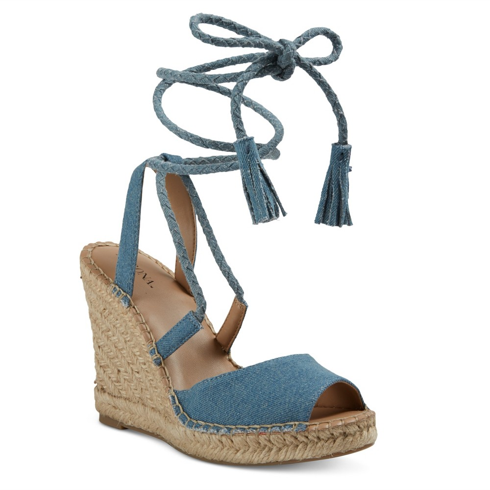 Womens Maren Lace Up Wedge Espadrille Sandals - Merona Blue 8.5, Light Denim