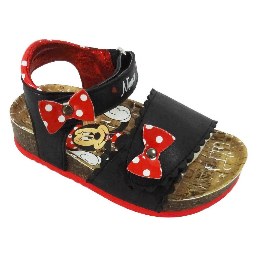 Toddler Girls Minnie Mouse Footbed Sandals - Black 12