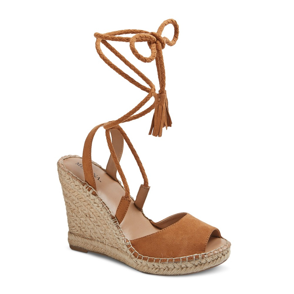 Womens Maren Lace Up Wedge Espadrille Sandals - Merona Taupe 9.5, Taupe Brown