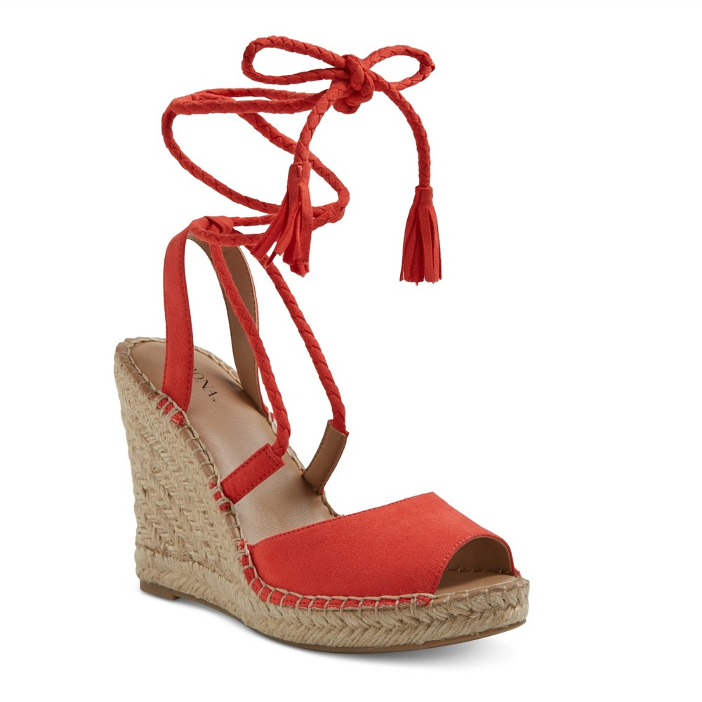 Womens Maren Lace Up Wedge Espadrille Sandals - Merona Red 5.5