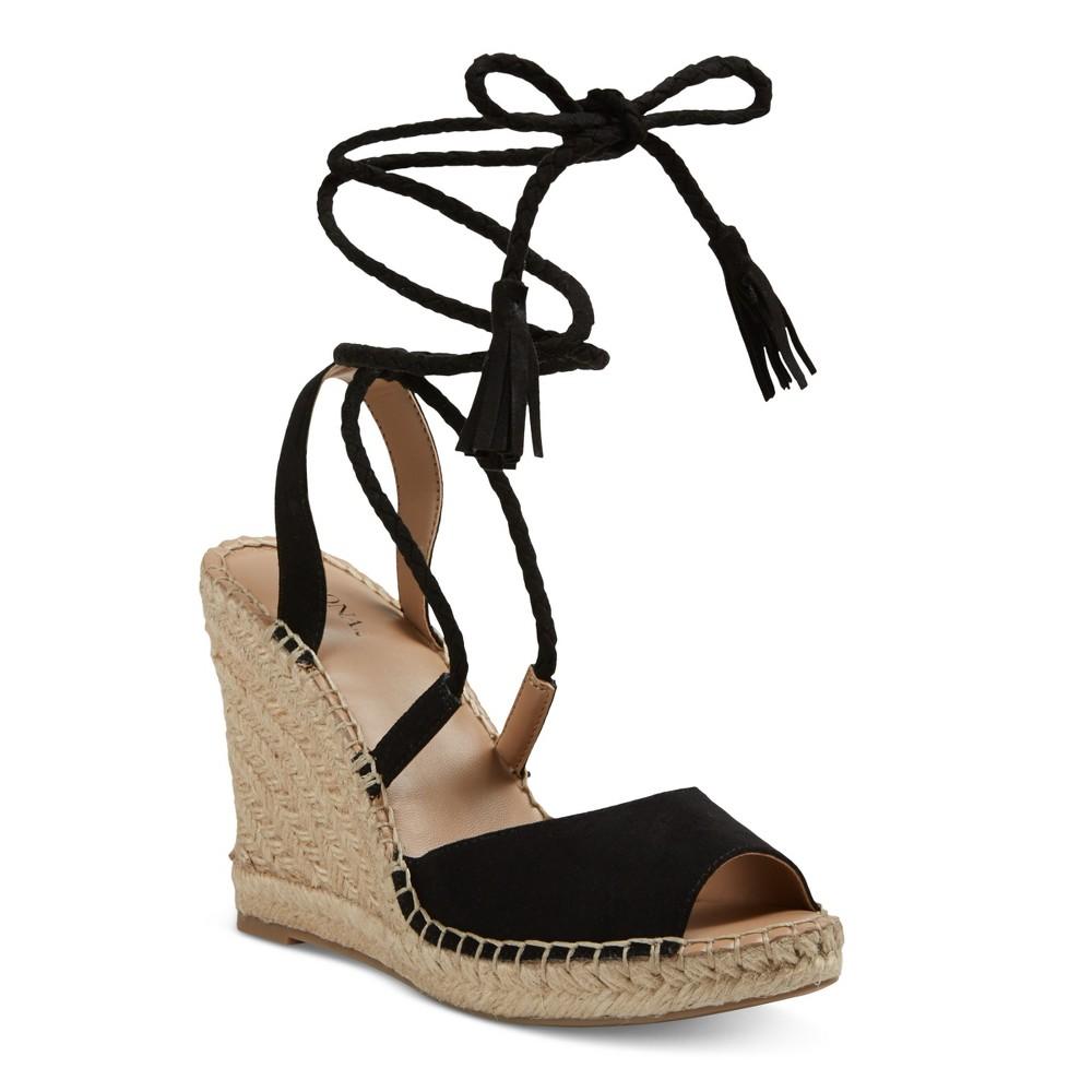 Womens Maren Lace Up Wedge Espadrille Sandals - Merona Black 9.5
