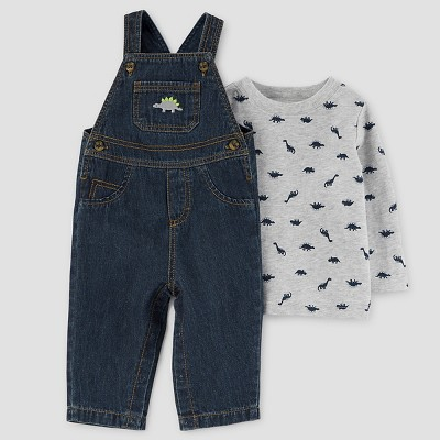 Just One You™ Made by Carter's® Baby Boys' 2pc Dinosaur Overall Set - Grey 3M