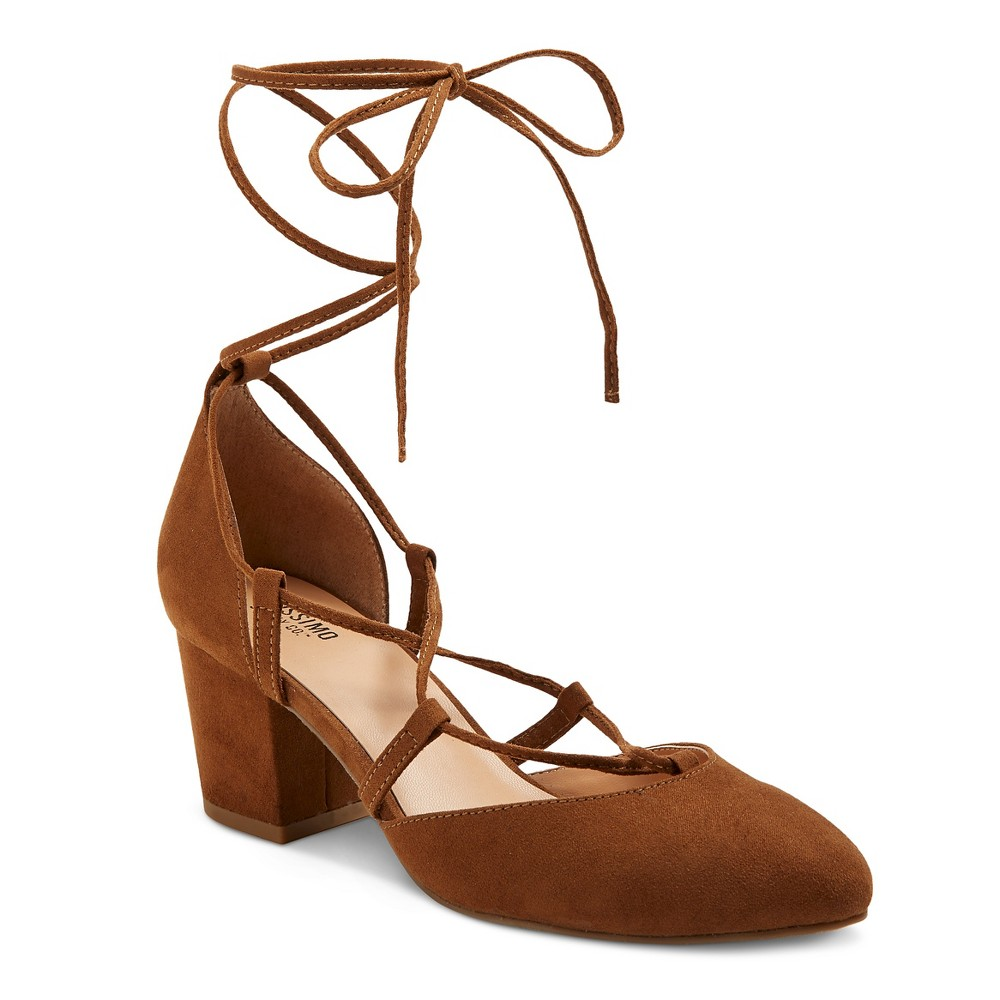 Womens Floris Block Heel Lace Up Ghille Pumps - Mossimo Supply Co. Cognac (Red) 6