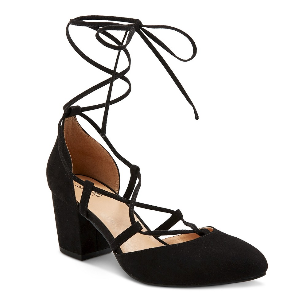 Womens Floris Block Heel Lace Up Ghille Pumps - Mossimo Supply Co. Black 7.5