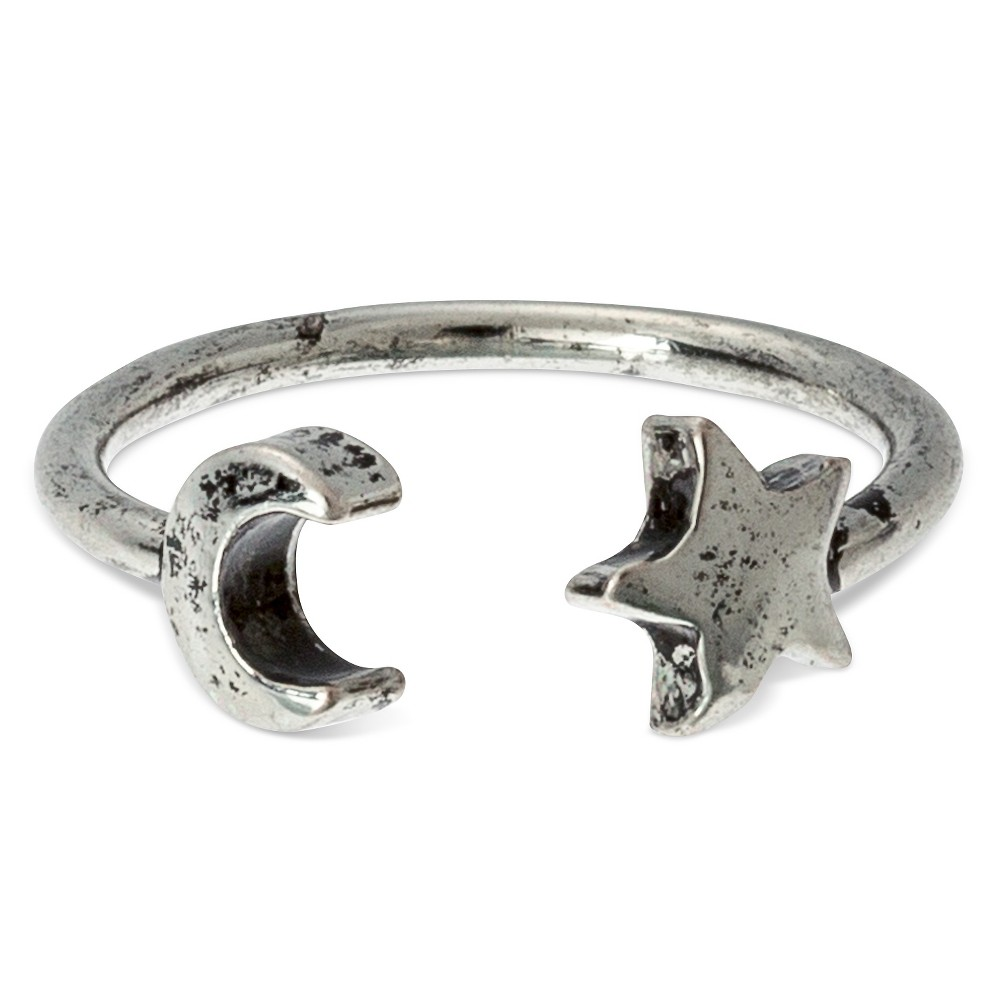 Womens Gentribe Adjustable Ring With Moon And Star - Silver, Size: 6.5, Light Silver