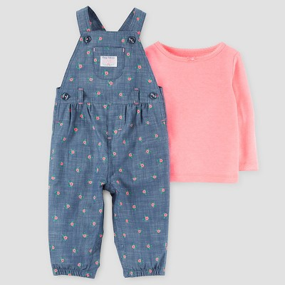 Just One You™ Made by Carter's® Baby Girls' 2pc Floral Overall Set - Blue/Pink 12M