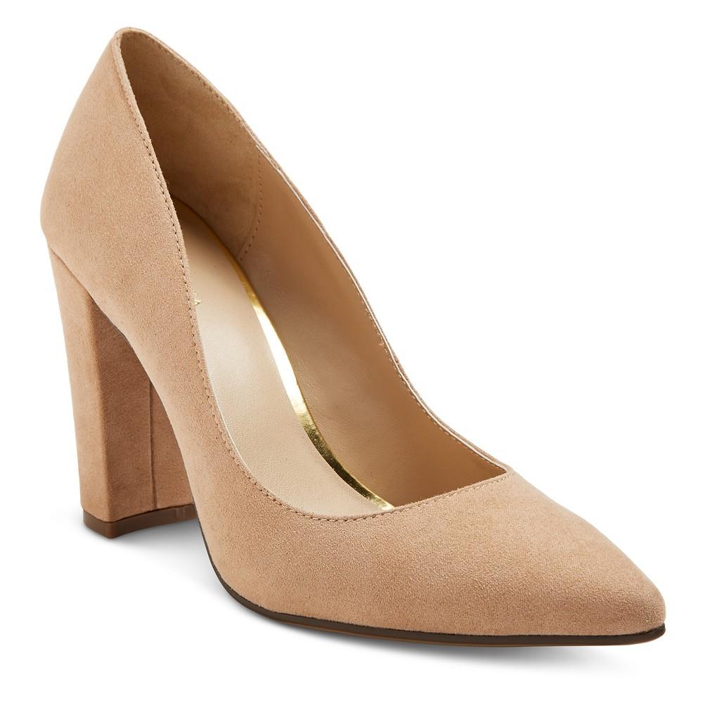 Womens Brie Block Heel Pumps - Merona Tan 8.5