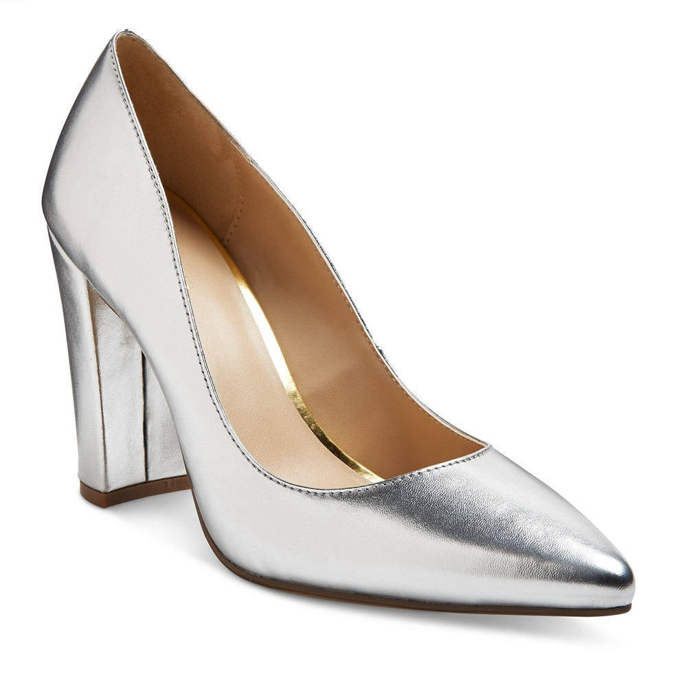 Womens Brie Block Heel Pumps - Merona Silver 9