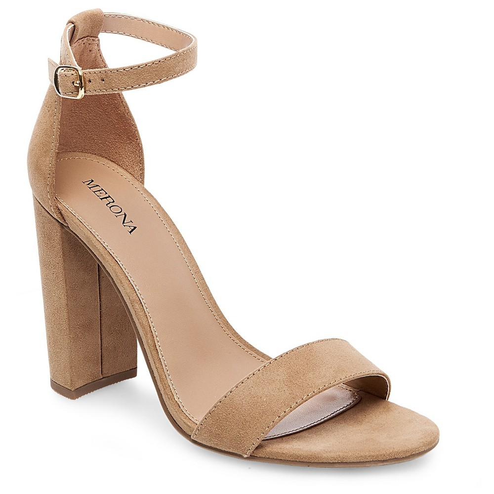Womens Lulu Wide Width High Block Heel Sandal Pumps with Ankle Straps - Merona Taupe (Brown) 10, Size: 10 Wide