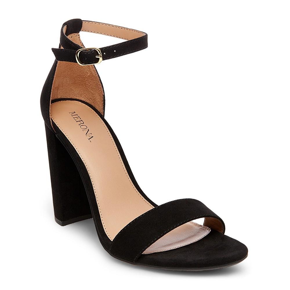 Womens Lulu Wide Width High Block Heel Sandal Pumps with Ankle Straps - Merona Black 9.5, Size: 9.5 Wide