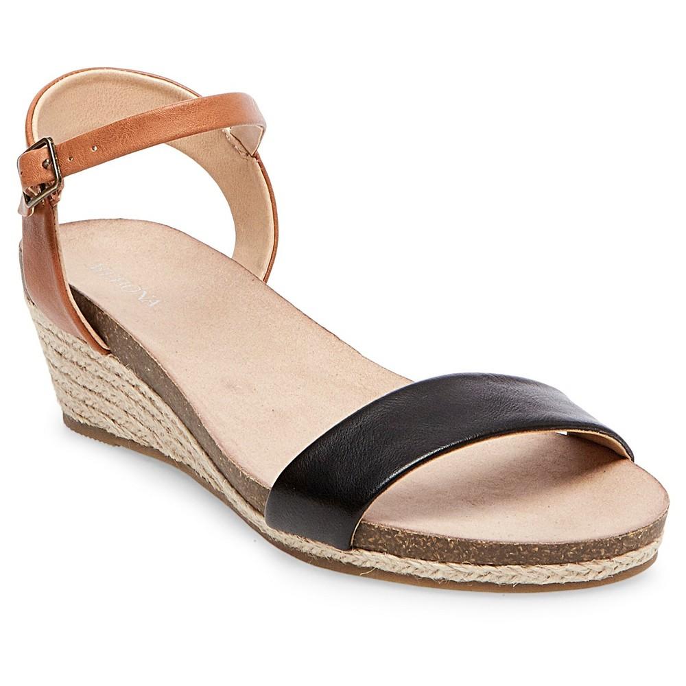 Womens Eve Footbed Wedge Quarter Straps Sandals - Merona Black 5.5