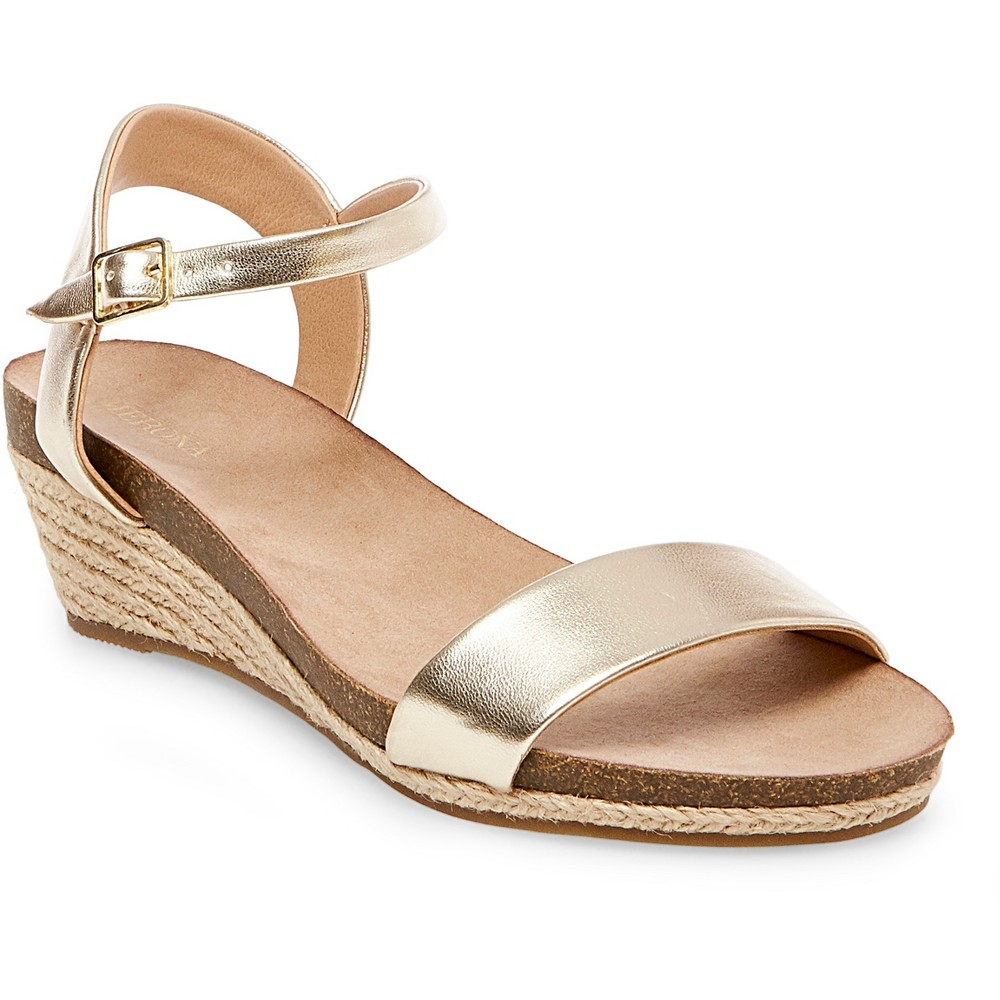 Womens Eve Footbed Wedge Quarter Straps Sandals - Merona Gold 10