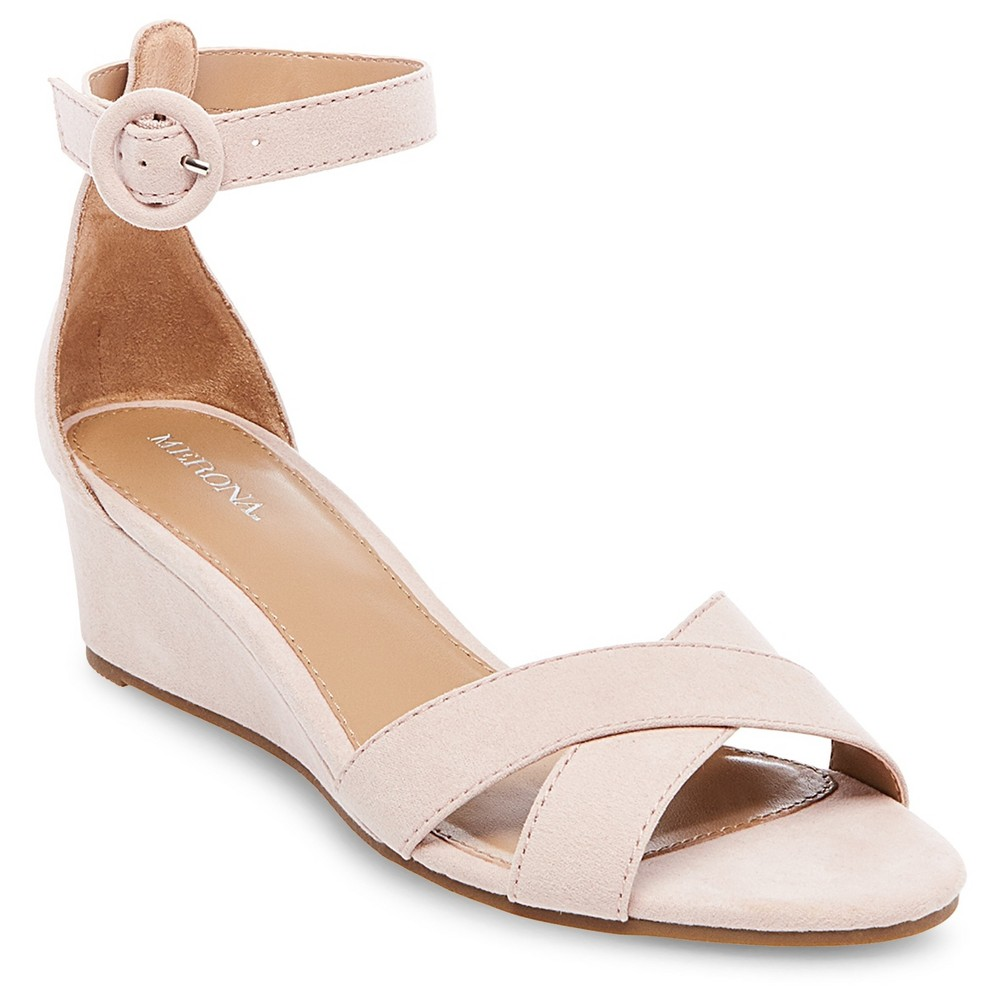 Womens Izabella Wedge Pumps with Ankle Straps - Merona Blush 5.5