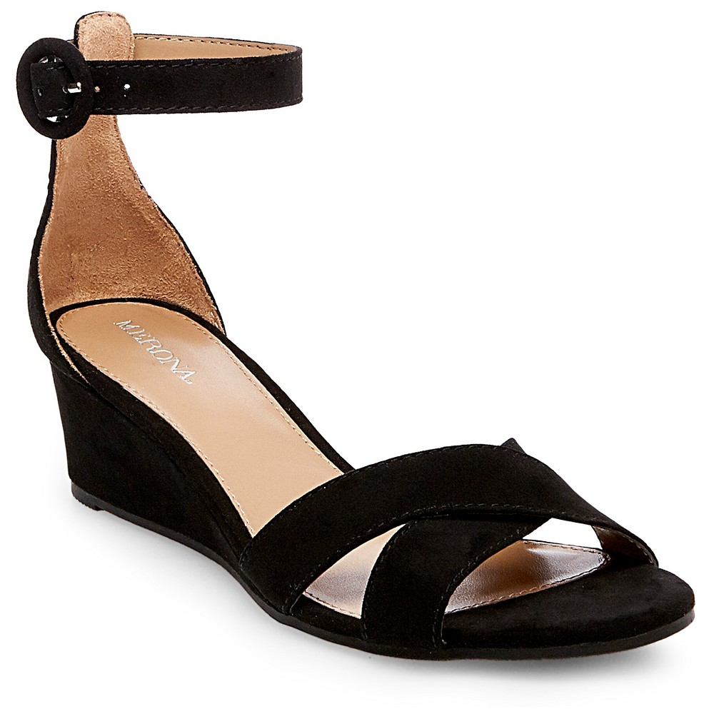 Womens Izabella Wedge Pumps with Ankle Straps - Merona Black 5.5