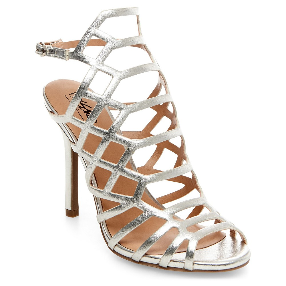 Womens Kylea Caged Heel Gladiator Pumps with Straps Mossimo - Silver 6.5