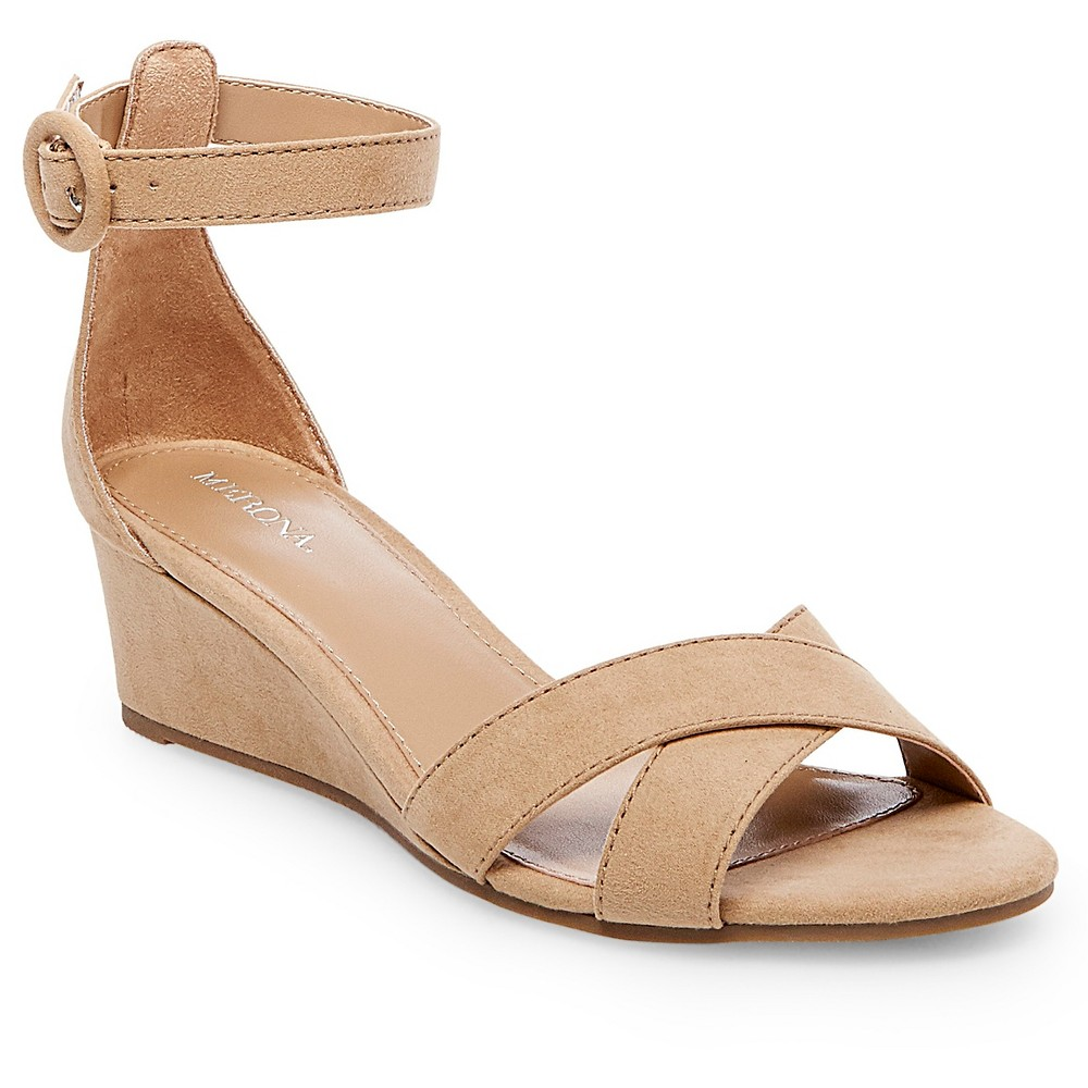 Womens Izabella Wedge Pumps with Ankle Straps - Merona Tan 5.5