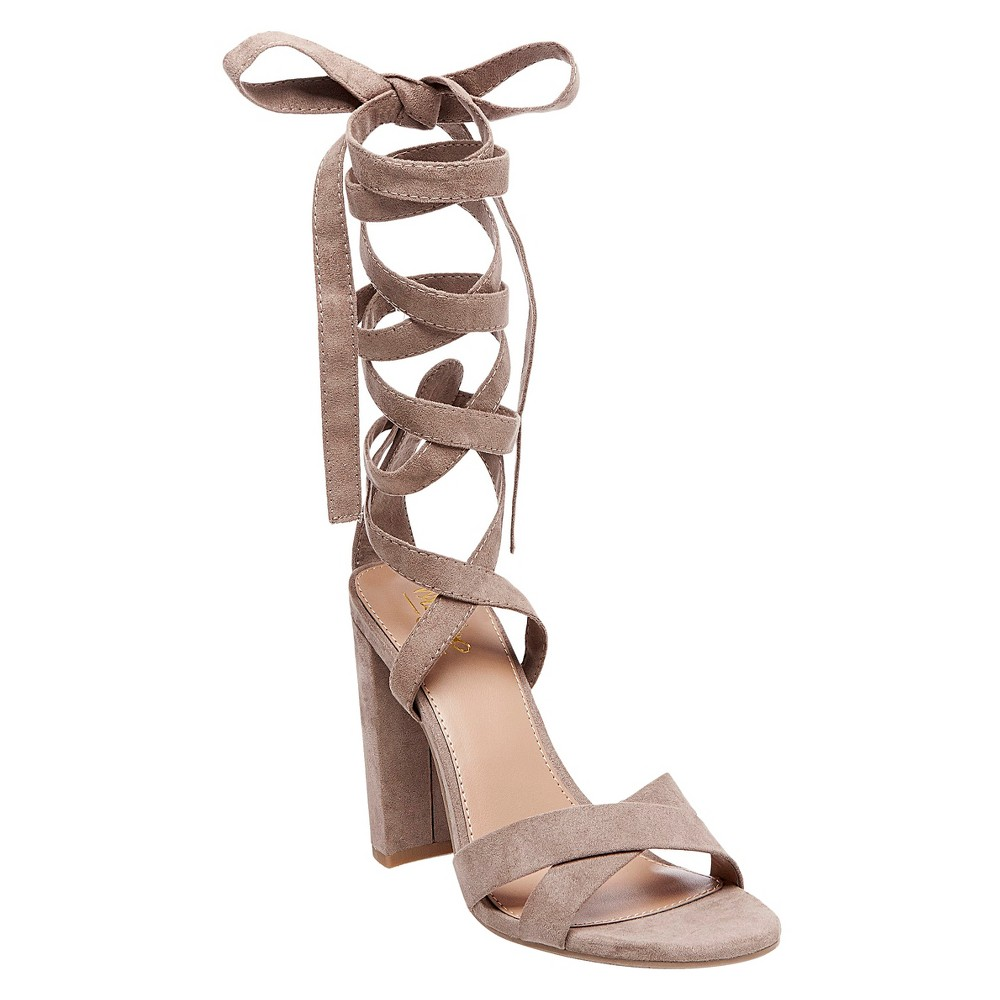 Womens Kayson Block Heel Pumps with Ankle Wrap Mossimo - Gray 9