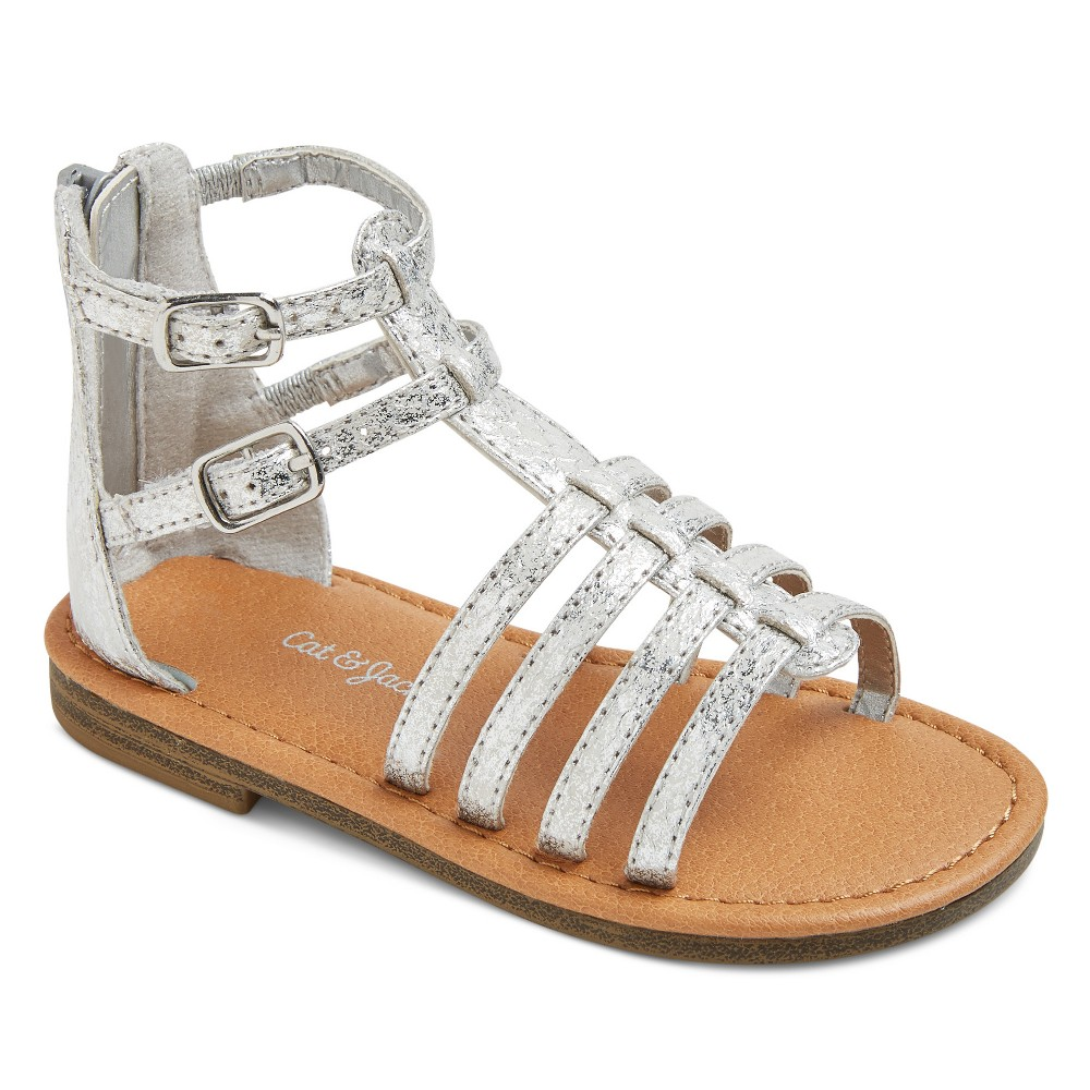 Toddler Girls Taylor Classic Gladiator Sandals Cat & Jack - Silver 5