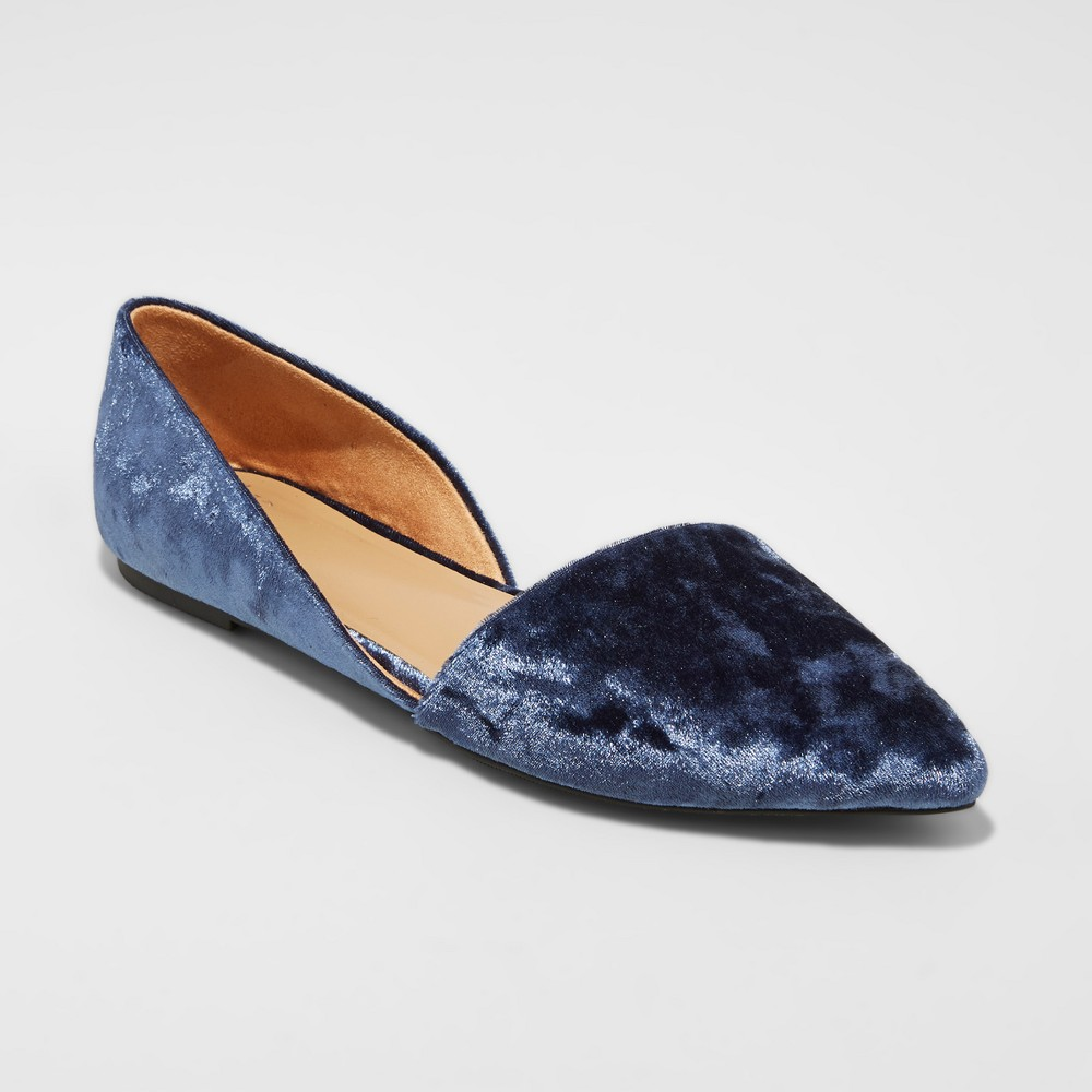 Womens Poppy dOrsay Pointed Toe Ballet Flats - A New Day Blue 7.5