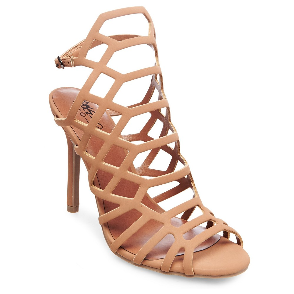 Womens Kylea Wide Width Caged Heel Gladiator Pumps with Straps Mossimo Black - Tan 9.5W, Size: 9.5 Wide