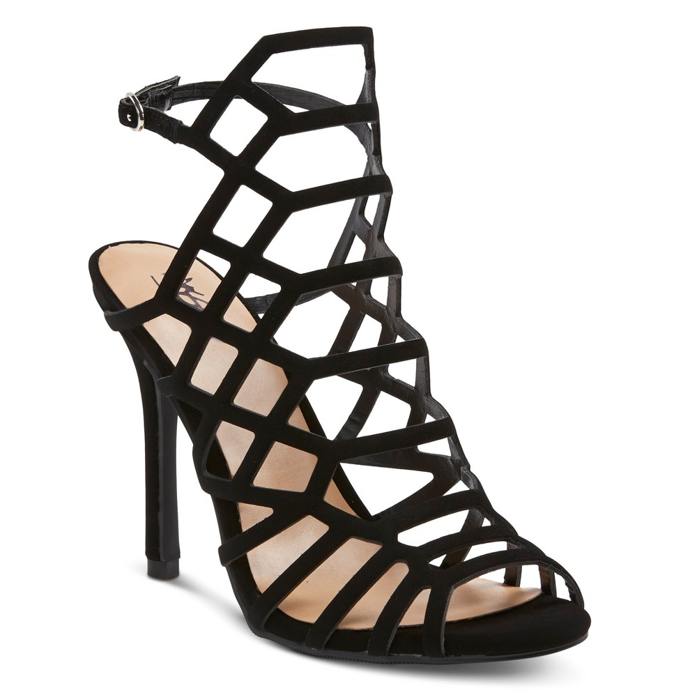 Womens Kylea Wide Width Caged Heel Gladiator Pumps with Straps Mossimo - Black 10W, Size: 10 Wide