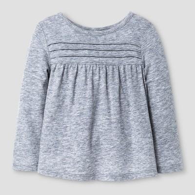 Toddler Girls' Long Sleeve T-Shirt Cat & Jack™ - Heather Grey 18 M