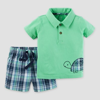 Baby Boys' 2pc Plaid Turtle Set - Just One You™ Made by Carter's® Green/Navy 6M