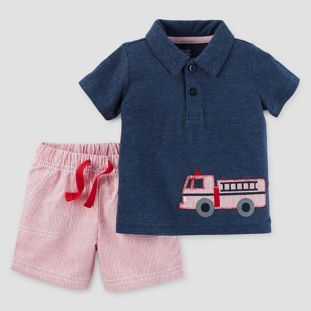 Baby Boys' 2 Piece Set Firetruck Navy/Red 6M – Just One You Made by Carter's, Infant Boy's, Blue