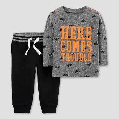 Baby Boys' 2pc Here Comes Trouble Set - Just One You™ Made by Carter's® Grey/Black 3M