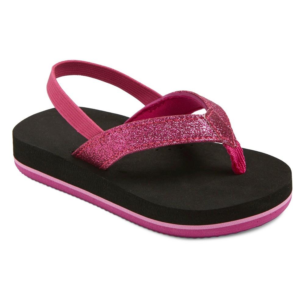 Toddler Girls Char Flip Flop Sandals Cat & Jack - Black S, Size: S (5-6), Black Pink